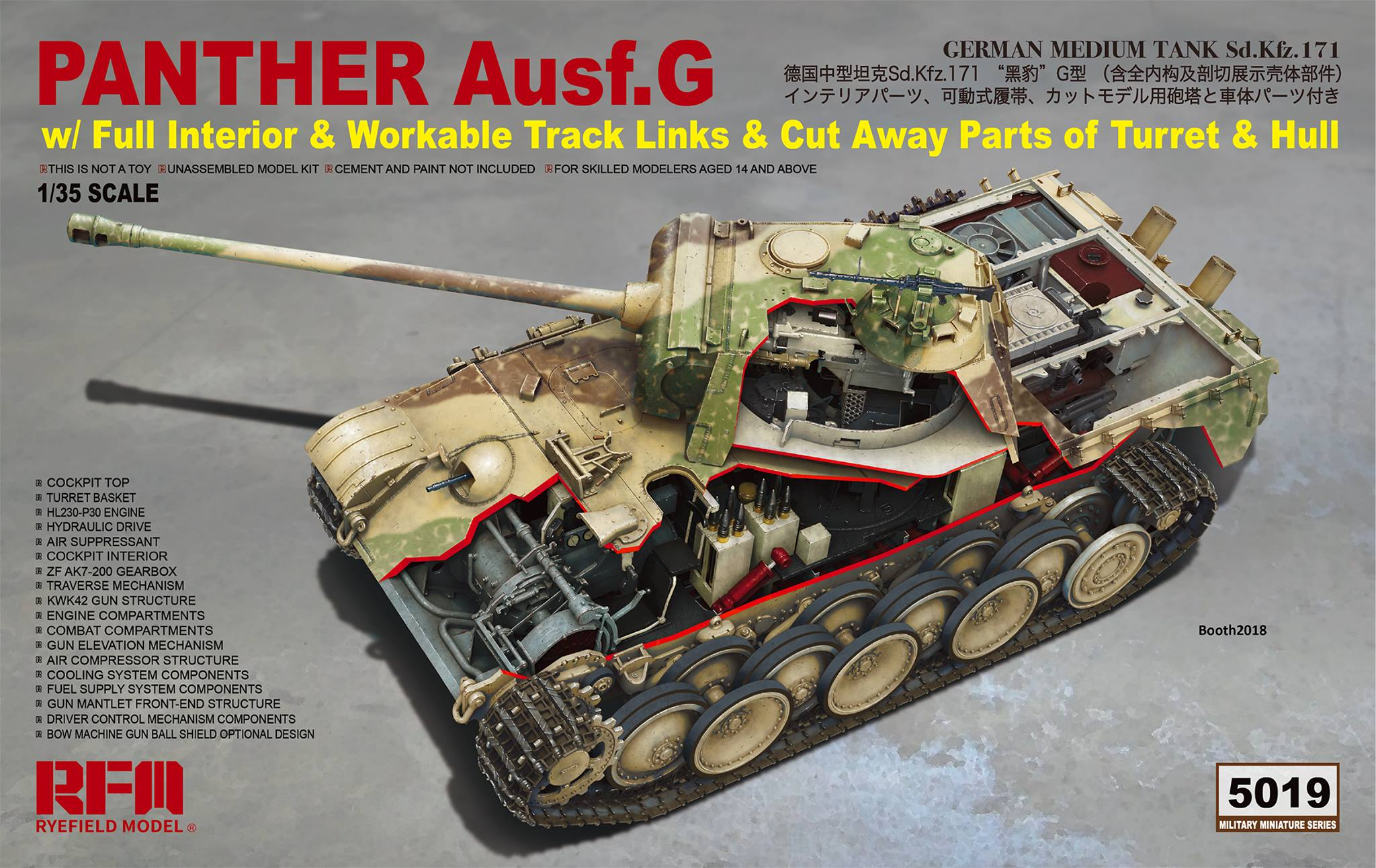 RM-5019 Panther Ausf.G with full interior & cut away parts & workable track links