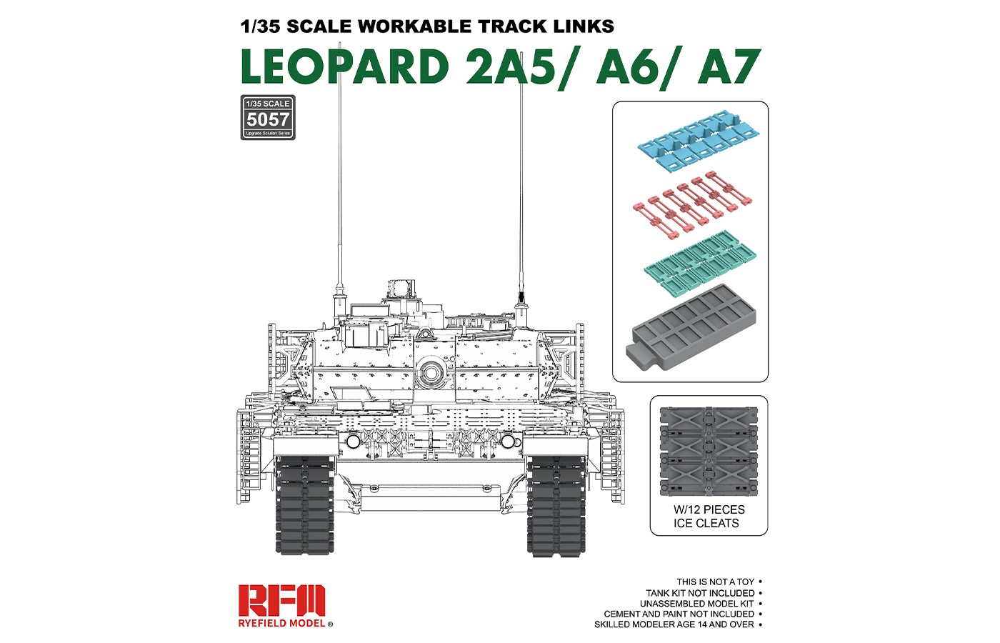 RM-5057 LEOPARD 2A5/A6/A7 WORKABLE TRACK LINKS