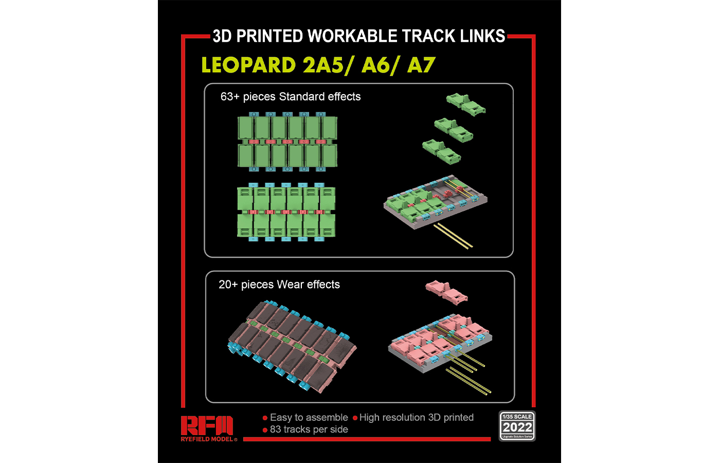 RM-5022 LEOPARD 2A5/A6/A7   3D PRINTED WORKABLE TRACK LINKS