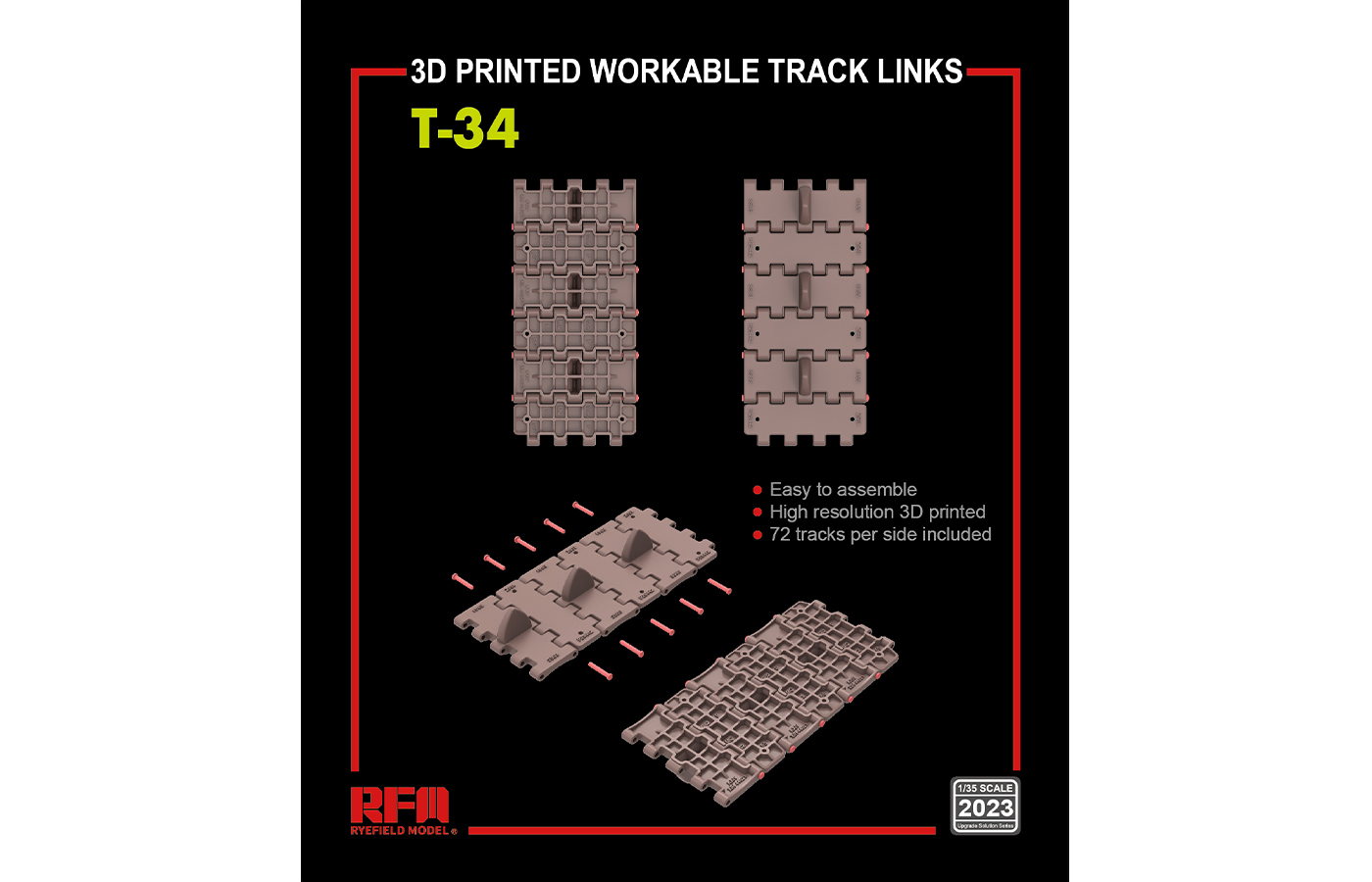 RM-5023  T-34  3D PRINTED WORKABLE TRACK LINKS